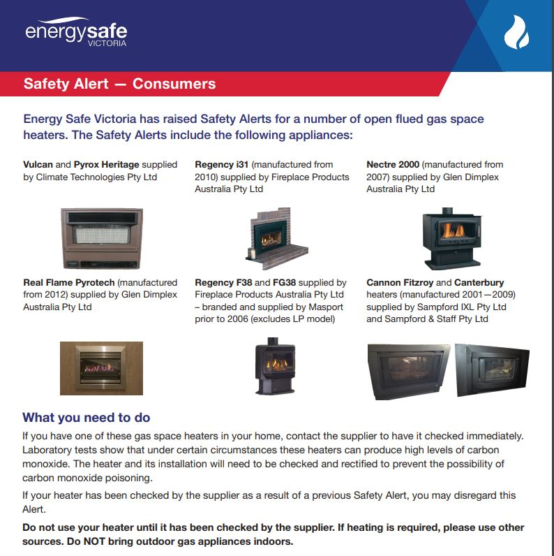 Gas Heater Safety Alert