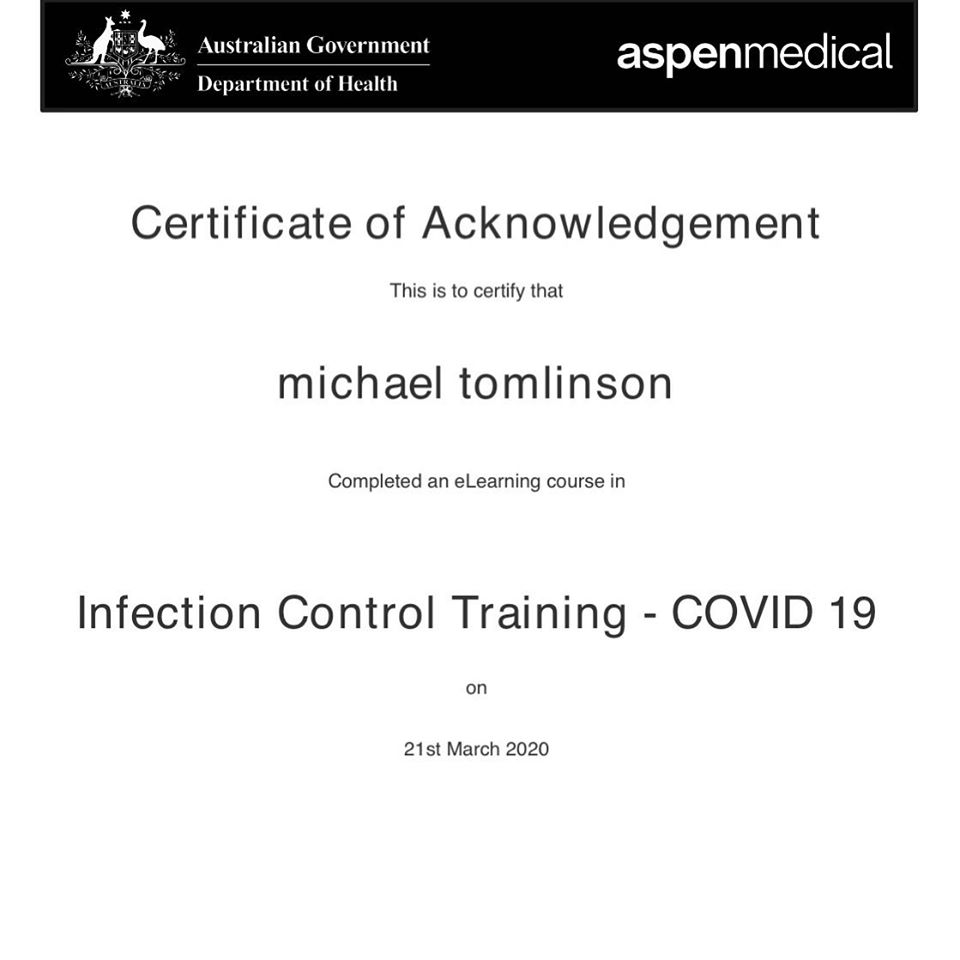 Covid19 Infection Control Training | Tomlinson Plumbing | Torquay | Geelong | Ocean Grove | Barwon Heads