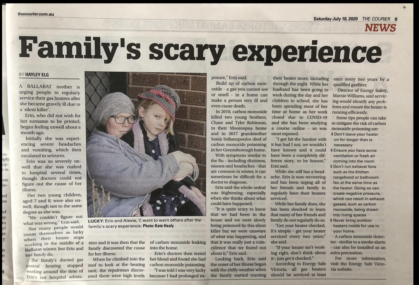 Carbon monoxide poisoning   Family's lucky escape   Tomlinson Plumbing   Geelong   Torquay   Ocean Grove